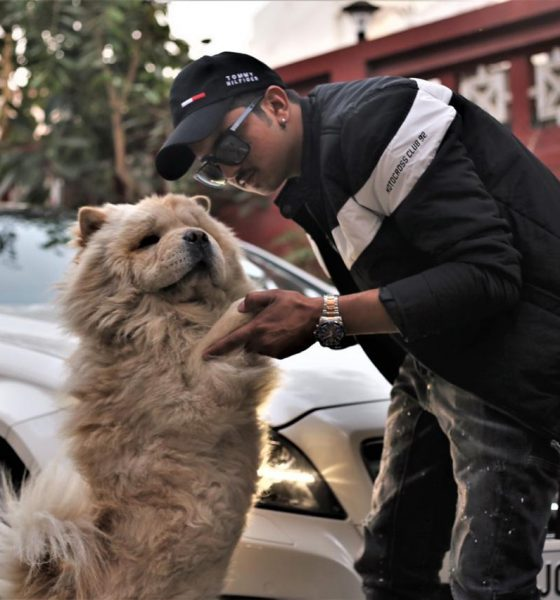 narendra desai with chow chow dog